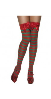 Ladies Stripy Thigh High Elf Stockings