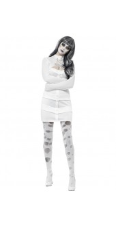 Ladies Halloween Straight Jacket Fancy Dress Costume