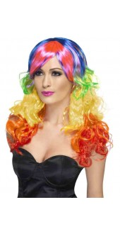 Ladies 80s Rainbow Curly Fancy Dress Wig