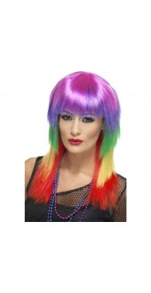 Ladies 80s Rainbow Rocker Fancy Dress Wig