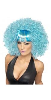 Ladies Mega Afro Fancy Dress Wig Blue