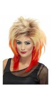 Ladies 80s Blonde Mullet Fancy Dress Wig With Red Streaks