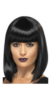 Ladies Short Blunt Cut Fancy Dress Wig Black