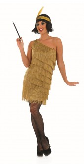 Ladies 1920s Gold Fringed Flapper Fancy Dress Costume