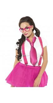Ladies Geek Schoolgirl Fancy Dress Costume