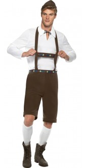 Mens Lederhosen Bavarian Fancy Dress Costume