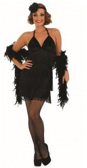 Ladies 1920s Sexy Black Fringed Flapper Fancy Dress