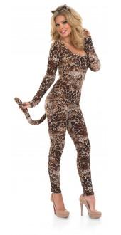 Ladies Cougar Fancy Dress Cat Suit