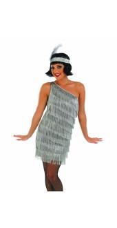 Ladies 1920s Silver Fringed Flapper Fancy Dress