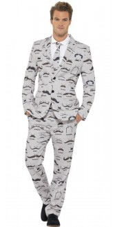 Mens Moustache Stand Out Fancy Dress Suit
