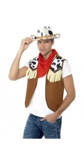 Mens Instant Fancy Dress Wild West Cowboy Kit