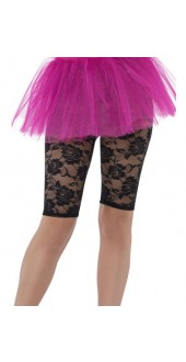 Ladies 80s Black Lace Fancy Dress Cycling Shorts